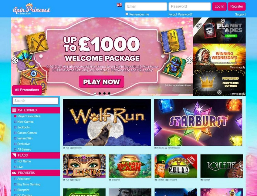 spin princess casino bonus codes